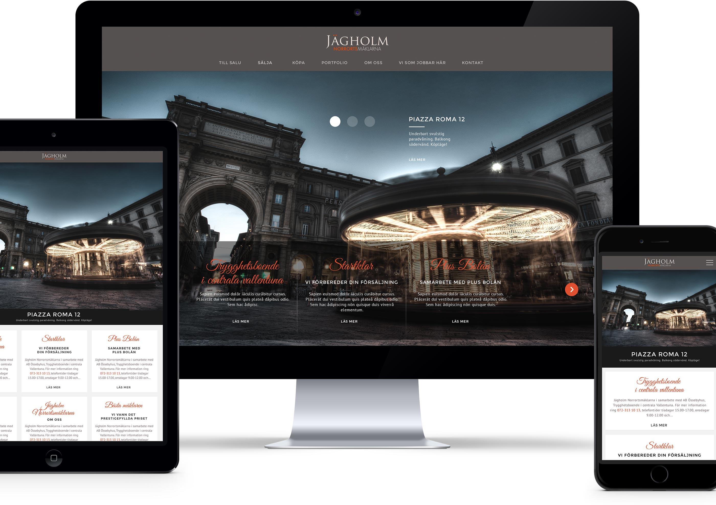 Jägholm website on different devices